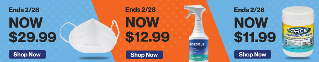 Full Page Banner Ad – Save on Disinfectant, Masks, Thermometer and More – Click to View Page