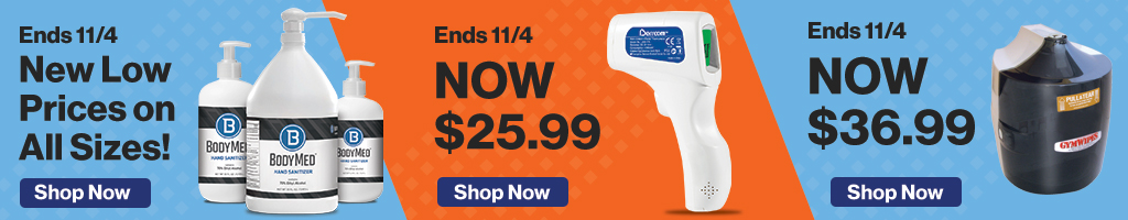 Full Page Banner Ad – Save on Hand Sanitizer, Thermometer, Wall Dispensers and More – Click to View Page