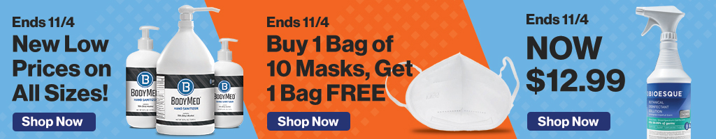Full Page Banner Ad – Save on Hand Sanitizer, Masks, Disinfectants and More – Click to View Page