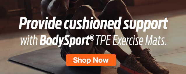 Half Page Ad – Shop No-Slip Exercise Mats from BodySport – Click to View Page