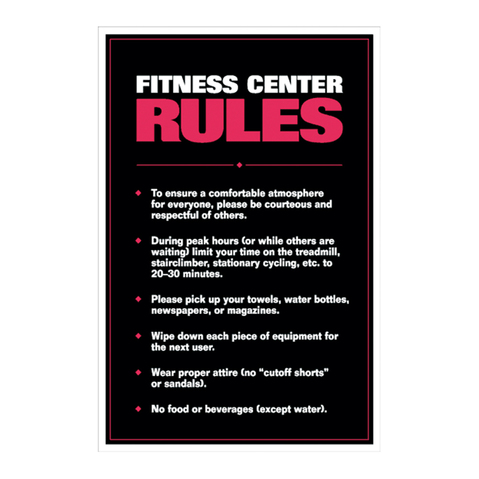 The Fitness Center Rules Poster at ELIVATE™