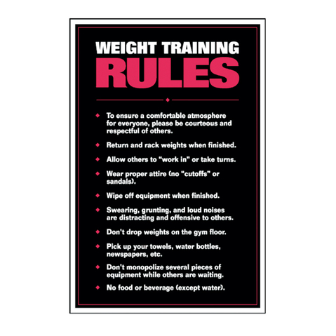 the weight training rules chart ensures respectful gym atmosphere