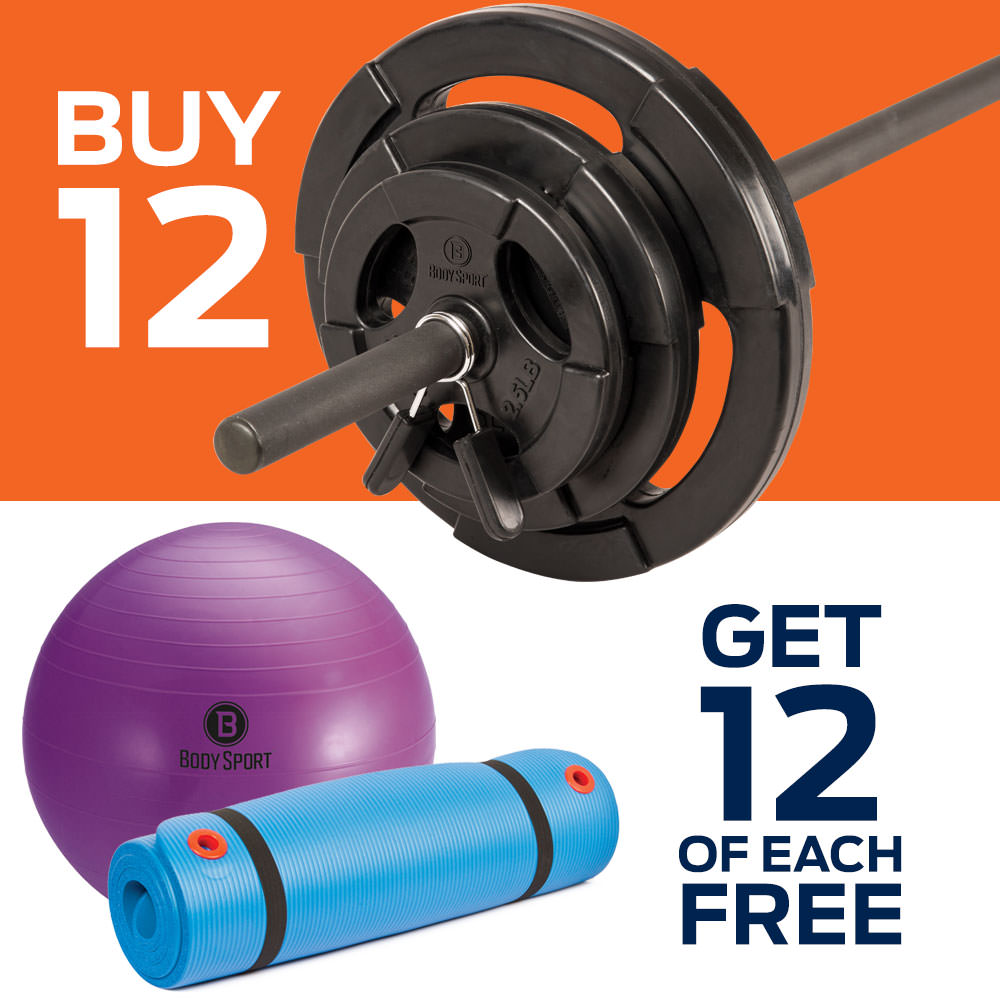 BODY SPORT Buy 12 Weight Bar Sets, Get 12 Fitness Balls & 12 Exercise Mats
