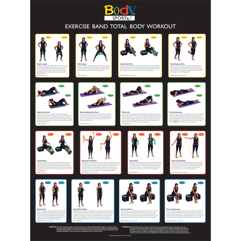 Body Sport Exercise Chart for Resistance Tubes or Bands Available at ELIVATE™