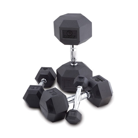 Body Sport Rubber Encased Hex Dumbbells at ELIVATE™