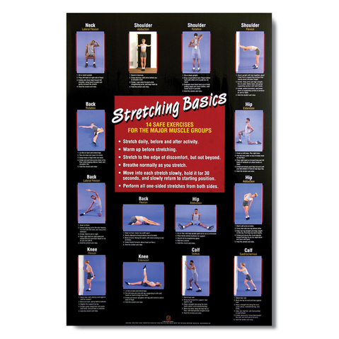 Stretching Basics Chart Covers 14 Stretches To Benefit Major Muscle Groups